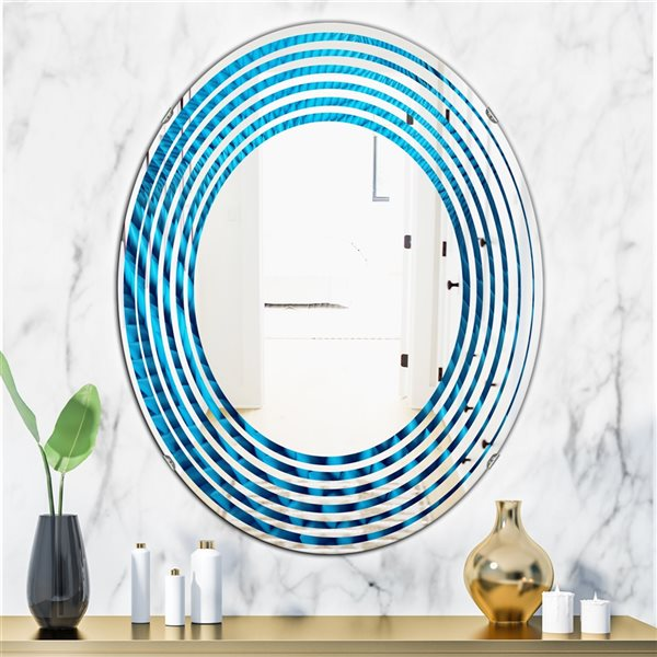 DesignArt 31.5-in x 23.7-in Abstract Blue Wavy II Oval Polished Wall Mirror