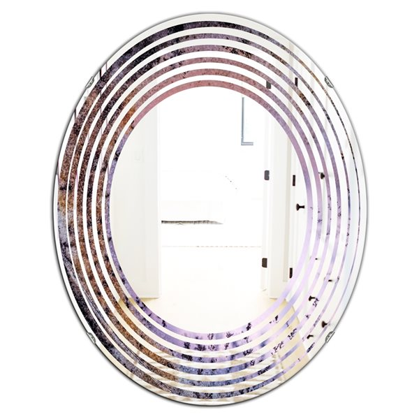 DesignArt 31.5-in x 23.7-in Crystal Dendrite Macro Oval Polished Wall Mirror