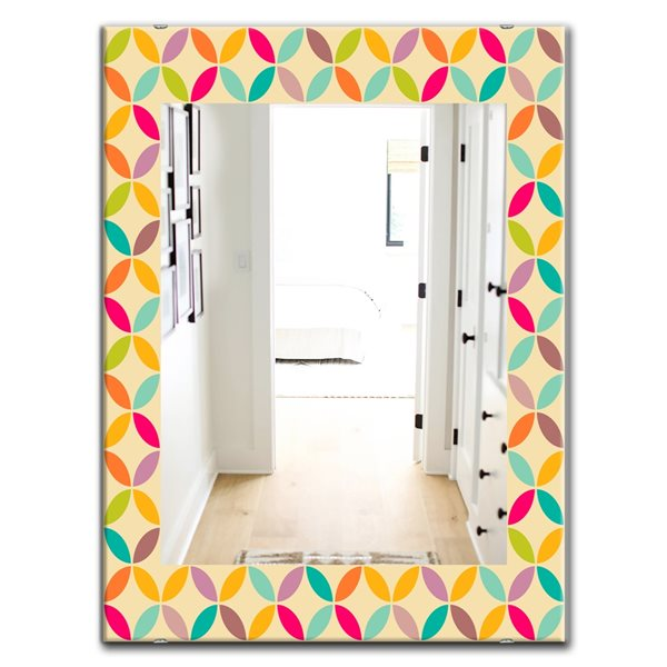 DesignArt 35.4-in x 23.6-in Vintage Neutral Pattern Rectangle Polished Wall Mirror