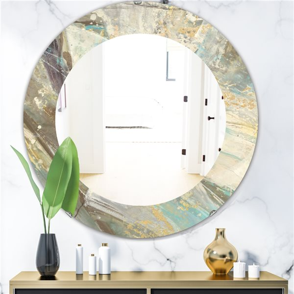 DesignArt 24-in x 24-in Blue Geometric Water Round Polished Wall Mirror