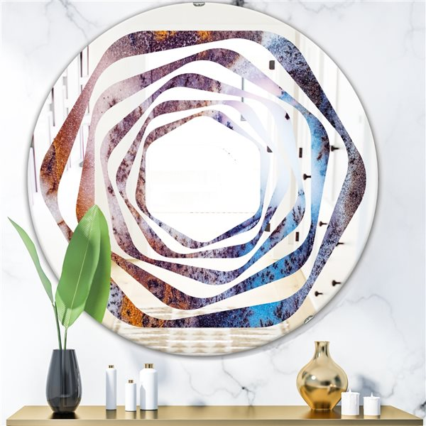 DesignArt 24-in x 24-in Geode 3 Round Polished Wall Mirror - Multicolour