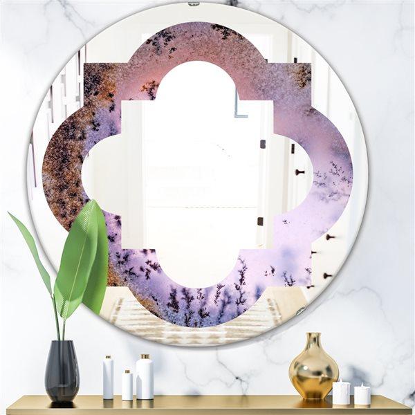 DesignArt 24-in x 24-in Purple Crystal Dendrite Macro Round Polished Wall Mirror