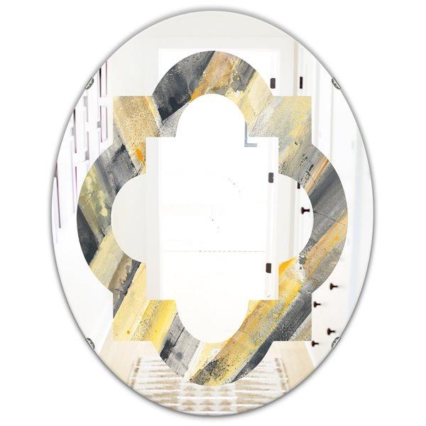 DesignArt 31.5-in x 23.7-in Geometric Beige Glacier Oval Polished Wall Mirror