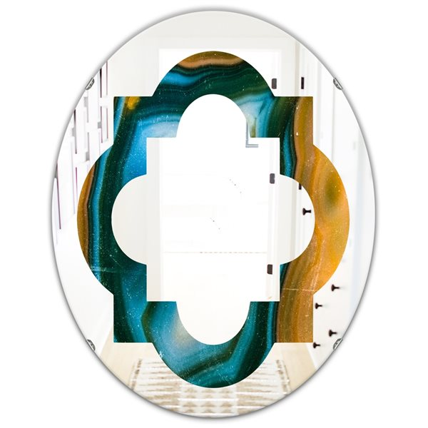 DesignArt 31.5-in x 23.7-in Colourful Agate Pattern Oval Polished Wall Mirror