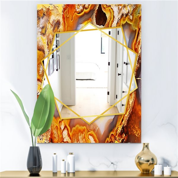 DesignArt 35.4-in x 23.6-in Fire with Rrystals Rectangle Polished Wall Mirror