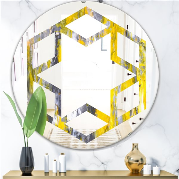 DesignArt 24-in x 24-in Grey and Yellow Abstract Pattern Round Polished Wall Mirror