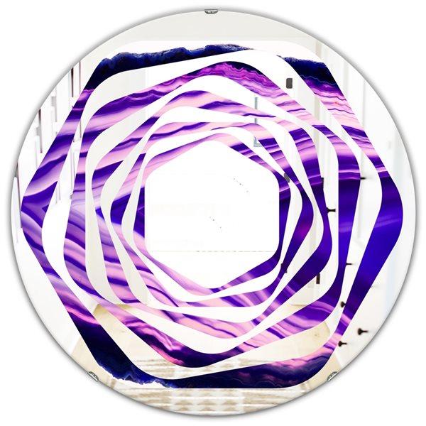 DesignArt 24-in x 24-in Geode 4 Round Purple Wall Mirror