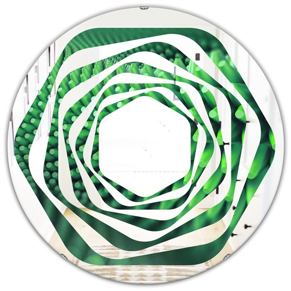 DesignArt 24-in x 24-in Abstract 3D Spiny Background Round Polished Wall Mirror