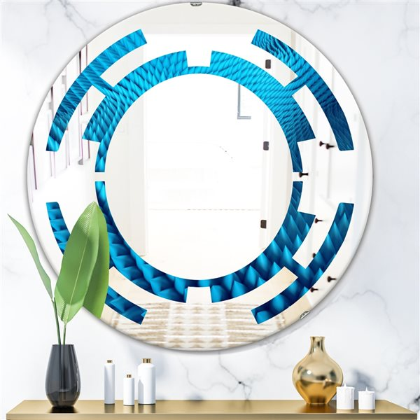 DesignArt 24-in x 24-in Abstract Blue Wavy II Round Polished Wall Mirror