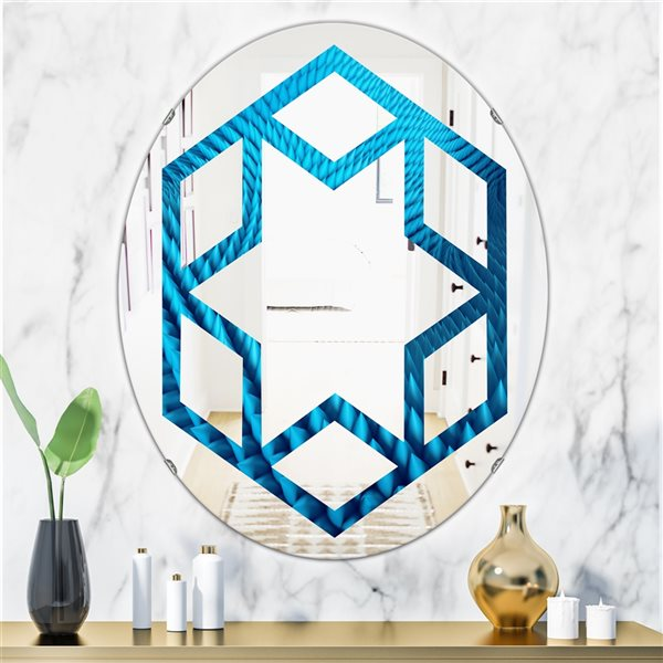 DesignArt 31.5-in x 23.7-in Abstract Blue Wavy Background Oval Polished Wall Mirror