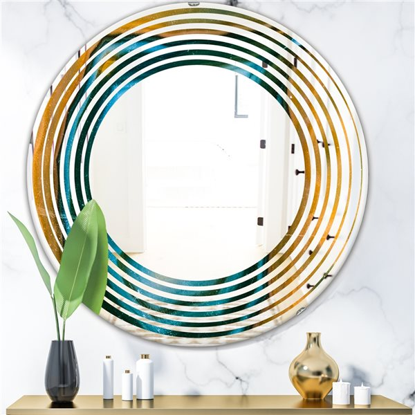 DesignArt 24-in x 24-in Colourful Agate Pattern Round Polished Wall Mirror