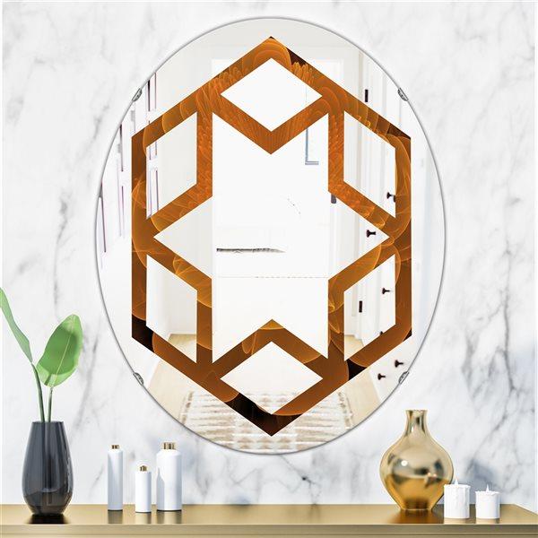 DesignArt 31.5-in x 23.7-in Water Lily Digital Art Fractal Flower Orange Oval Wall Mirror