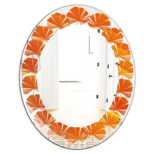 DesignArt 31.5-in x 23.7-in Brown Agate in Wave Pattern Oval Polished Wall Mirror