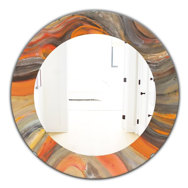 DesignArt 24-in x 24-in Abstract Gilded Orange Waves Round Polished Wall Mirror