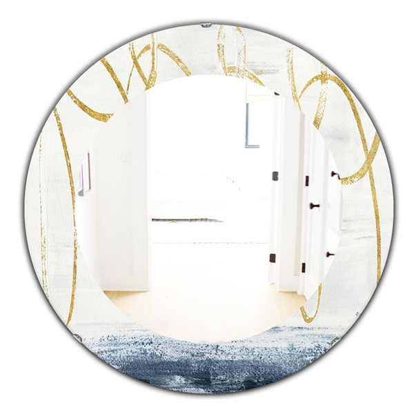 DesignArt 24-in x 24-in Gold Abstract Geometric Shape Round Polished Wall Mirror