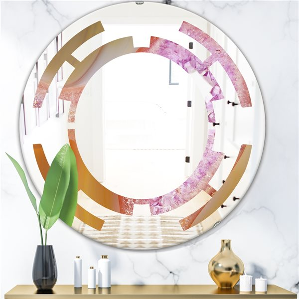 DesignArt 24-in x 24-in Crystals of Amethyst in Agate Round Polished Wall Mirror