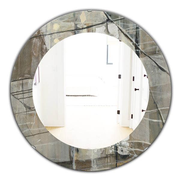 DesignArt 24-in x 24-in Grey Silver Geometric Composition Round Polished Wall Mirror