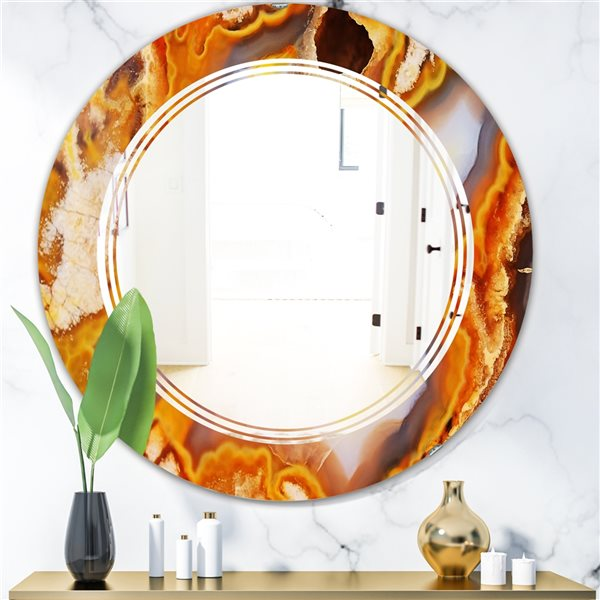 DesignArt 24-in x 24-in Fire with Rrystals Round Polished Wall Mirror