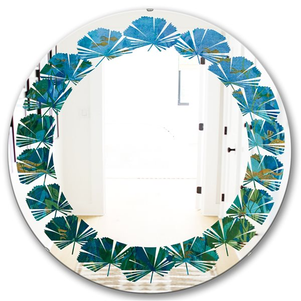 DesignArt 24-in x 24-in Blue Underwater Lake Leaves II Round Polished Wall Mirror