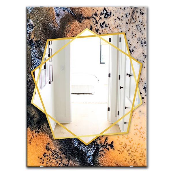 DesignArt 35.4-in x 23.6-in Moss Agate Close Up Rectangle Polished Wall Mirror