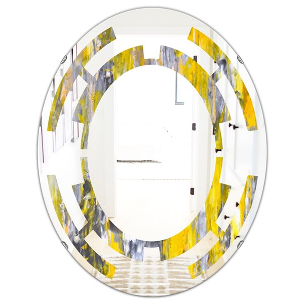DesignArt 31.5-in x 23.7-in Grey/Yellow Abstract Pattern Oval Polished Wall Mirror