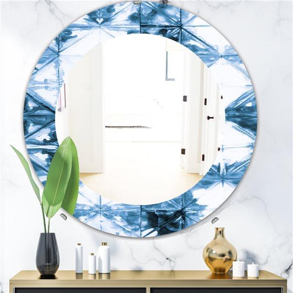 DesignArt 24-in x 24-in Indigo Watercolour Geometrical I Round Polished Wall Mirror