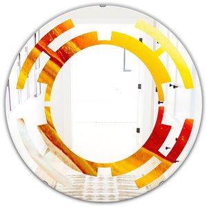 DesignArt 24-in x 24-in Kazakhstan Brown Agate Macro Round Polished Wall Mirror