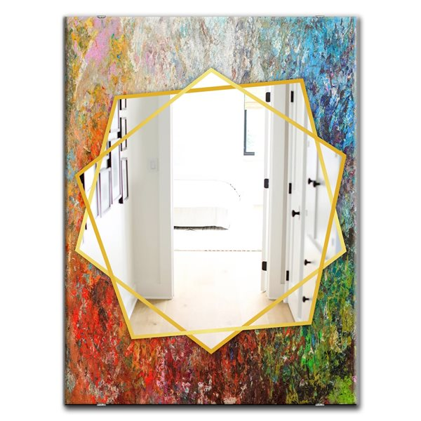 DesignArt 35.4-in x 23.6-in Board Stained Abstract Art Rectangle Polished Wall Mirror