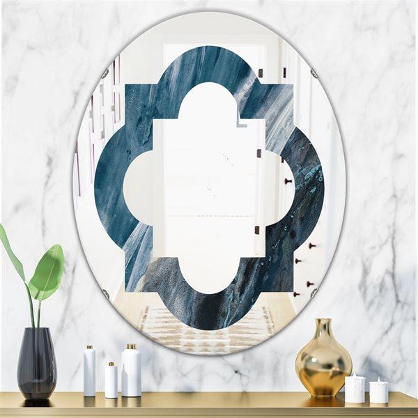 DesignArt 31.5-in x 23.7-in Splash Blue Indigo Oval Polished Wall Mirror