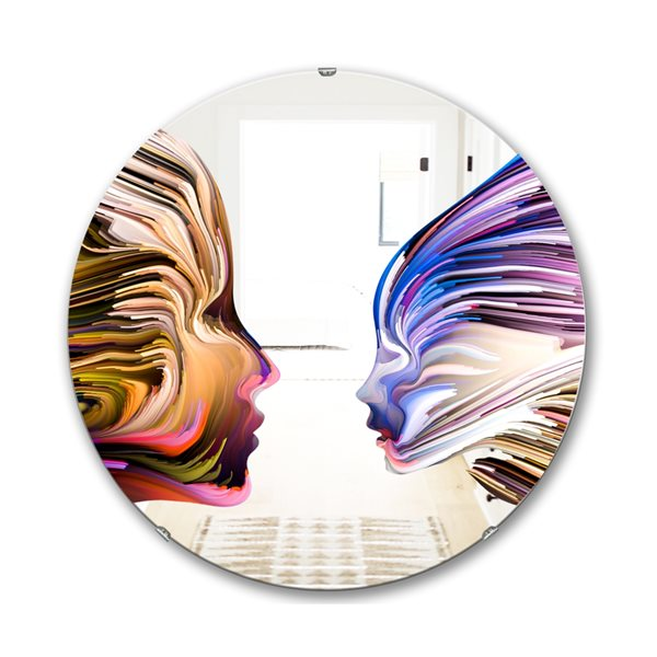 DesignArt 24-in x 24-in Metaphorical Mind Painting Round Polished Wall Mirror
