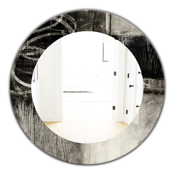 DesignArt 24-in x 24-in A Geometric Day I Round Polished Wall Mirror
