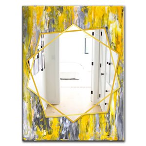 DesignArt 35.4-in x 23.6-in Grey and Yellow Abstract Pattern Rectangle Polished Wall Mirror