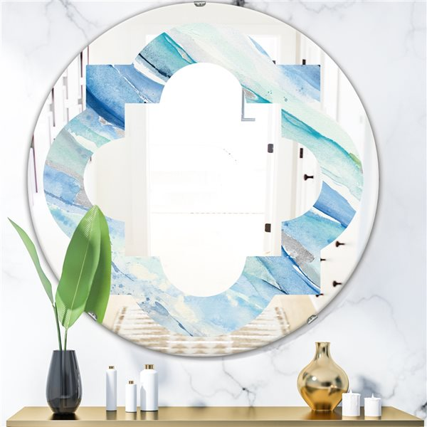 DesignArt 24-in x 24-in Blue Silver Spring I Round Polished Wall Mirror