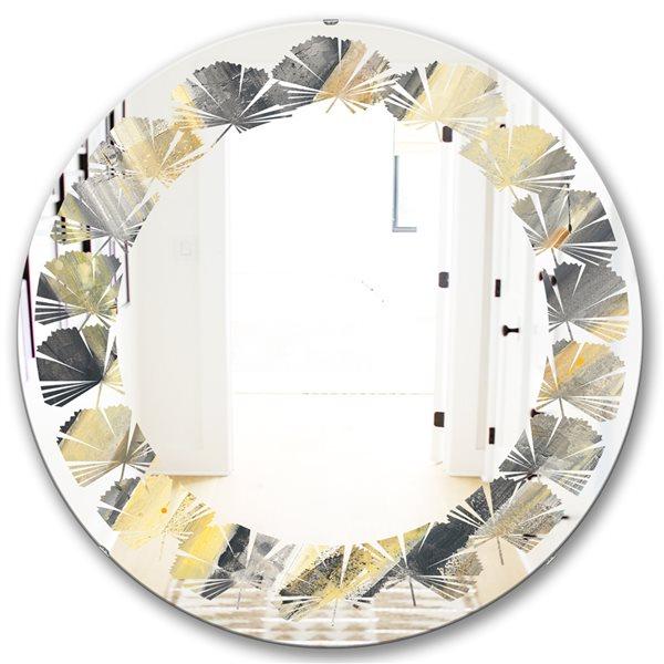 DesignArt 24-in x 24-in Geometric Beige Glacier Round Polished Wall Mirror