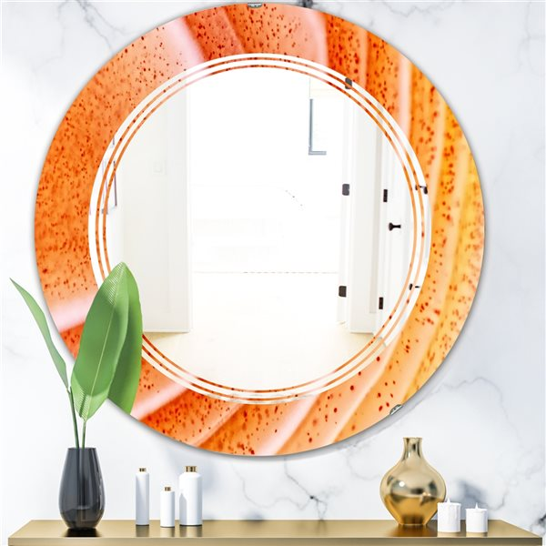DesignArt 24-in x 24-in Kazakhstan Red Agate Macro Round Polished Wall Mirror