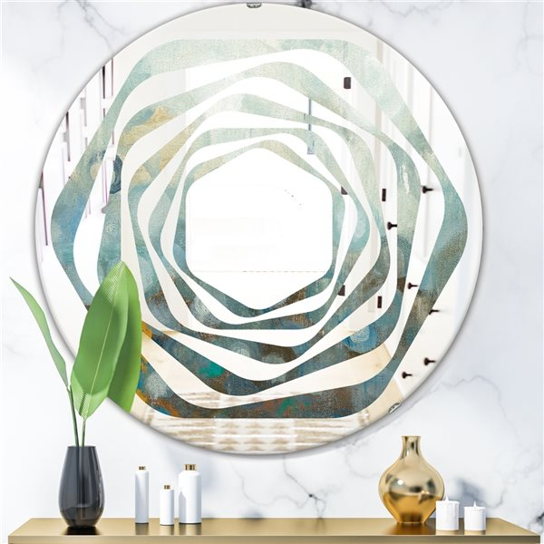 DesignArt 24-in x 24-in Blue and Bronze Dots on Glass II Round Polished Wall Mirror