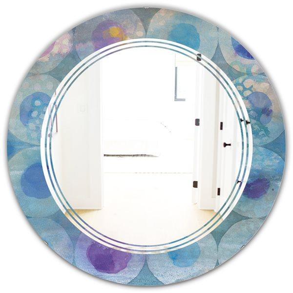 DesignArt 24-in x 24-in Watercolour Geometrical Circles II Round Polished Wall Mirror