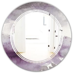 DesignArt 24-in x 24-in Mirrornight at the Lake II Amethyst and Grey Round Polished Wall Mirror
