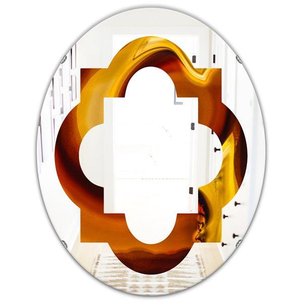 DesignArt 31.5-in x 23.7-in Agate Geode Slice Macro Oval Polished Wall Mirror