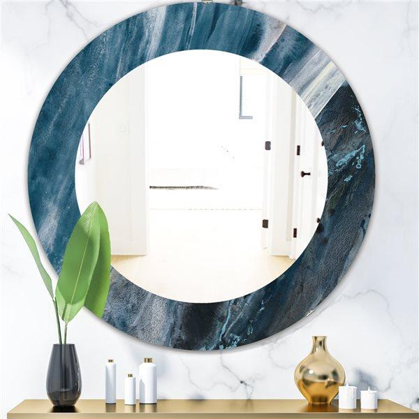 DesignArt 24-in x 24-in Splash Blue Indigo Round Polished Wall Mirror