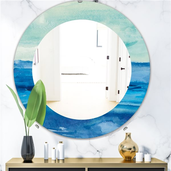 DesignArt 24-in x 24-in Out To Sea Round Polished Wall Mirror