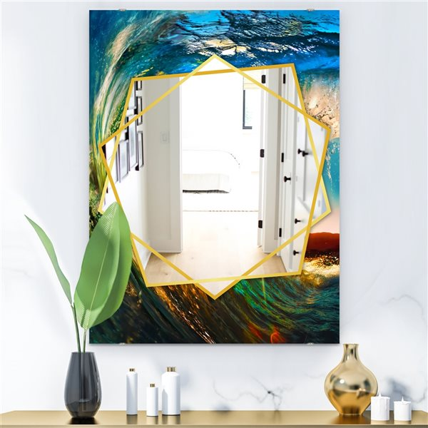 DesignArt 35.4-in x 23.6-in Coloured Ocean Waves Falling Down Rectangle Polished Wall Mirror