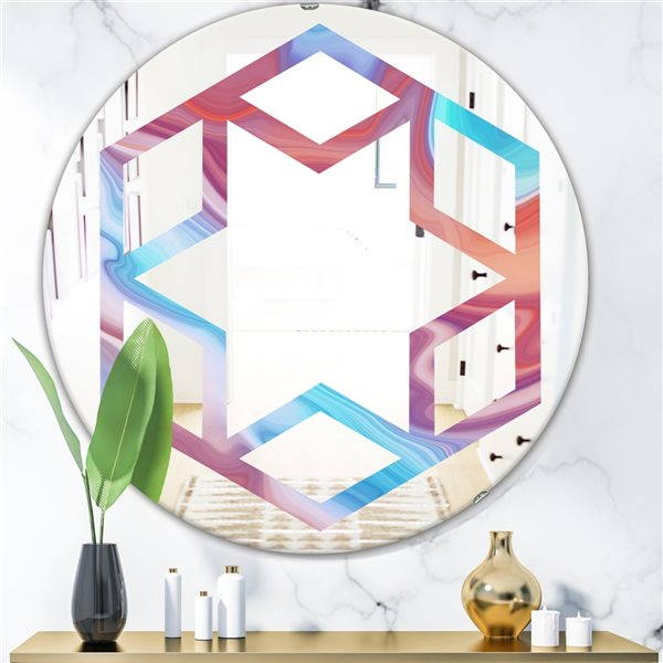 DesignArt 24-in x 24-in Abstract Marbled Background Round Polished Wall Mirror
