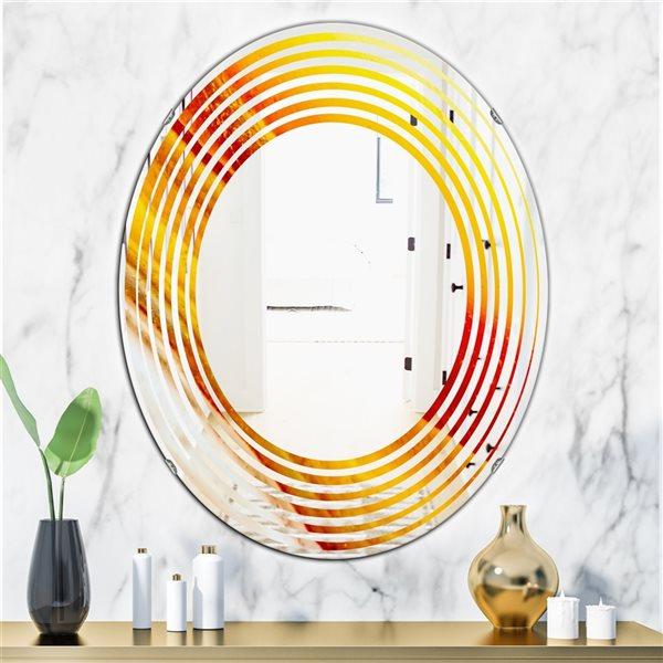 DesignArt 31.5-in x 23.7-in Kazakhstan Brown Agate Macro Oval Polished Wall Mirror