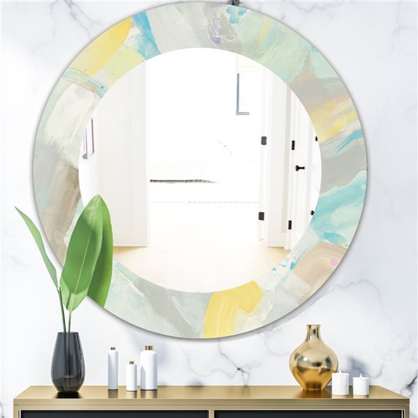 DesignArt 24-in x 24-in Abstract Compositions of Pastel Blue and Green Round Polished Wall Mirror