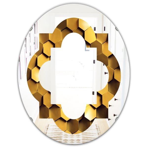 DesignArt 31.5-in x 23.7-in Golden Honeycomb Wall Texture Oval Polished Wall Mirror