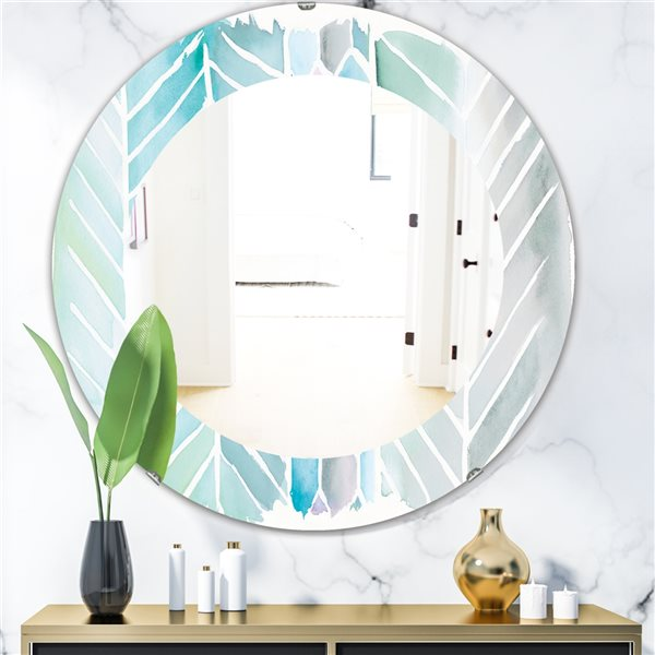 DesignArt 24-in x 24-in Watercolour Geometric Swatch Element IV Round Polished Wall Mirror