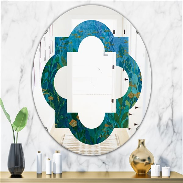 DesignArt 31.5-in x 23.7-in Blue Underwater Lake Leaves II Oval Polished Wall Mirror