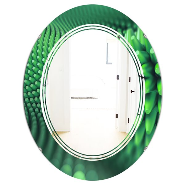 DesignArt 31.5-in x 23.7-in Abstract 3D Spiny Background Oval Polished Wall Mirror