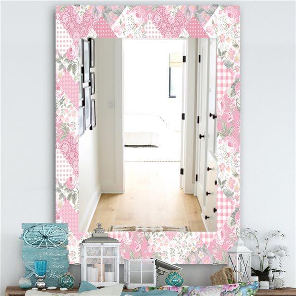 DesignArt 35.4-in x 23.6-in Floral Dew 6 Traditional Rectangular Mirror